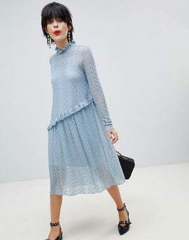 Pieces Lace Midi Dress - Dusty blue