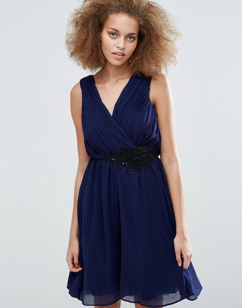 Little Mistress Applique Crossover Dress - Navy