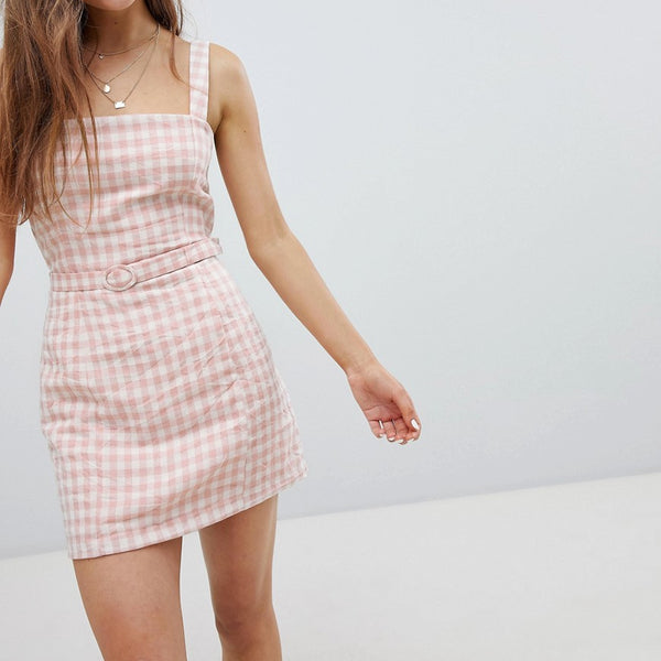 Nobody's Child Gingham Cami Dress With Waist Belt - Pink check