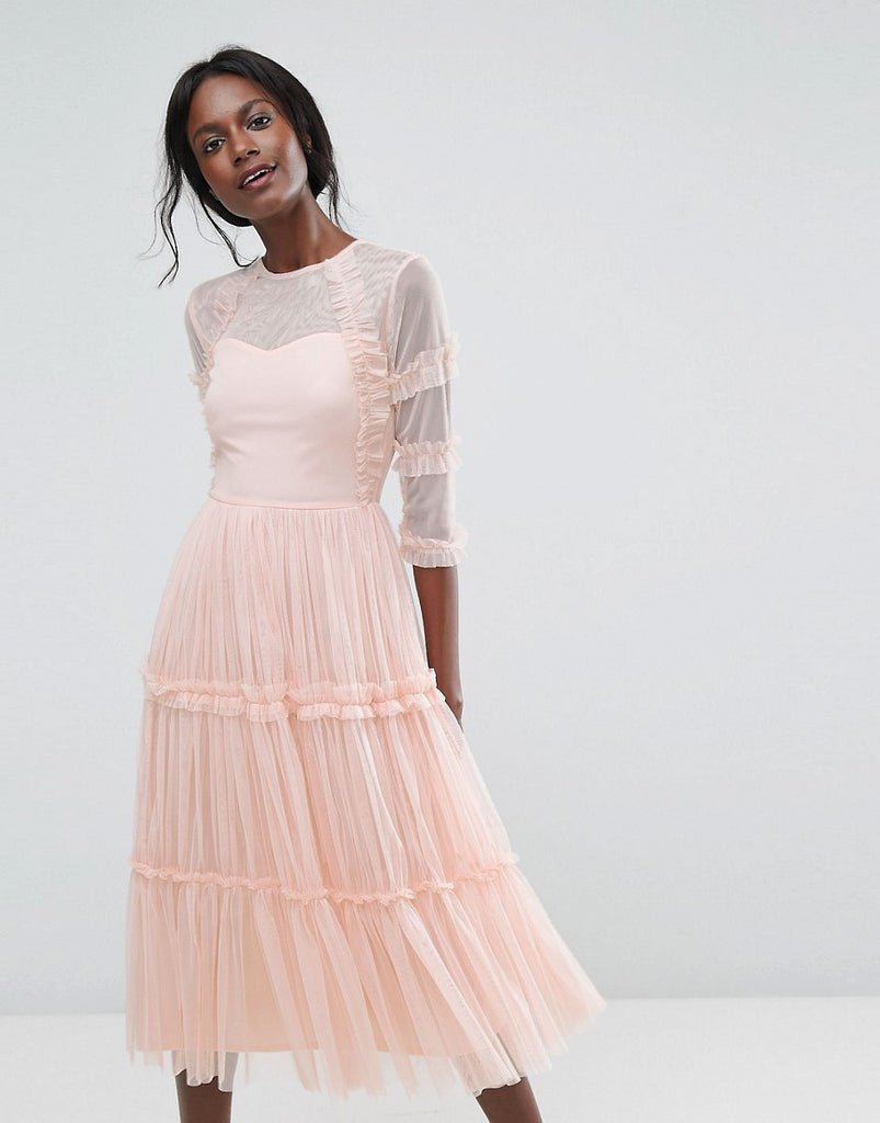 Lace & Beads Tiered Sheer Tulle Midi Dress with 3/4 Sleeve - Nude