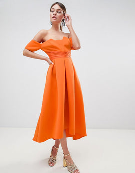 ASOS DESIGN bardot pleated waist scuba midi prom dress - Bright orange