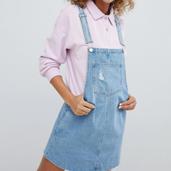 Pull&Bear Classic Dungaree Dress - Blue
