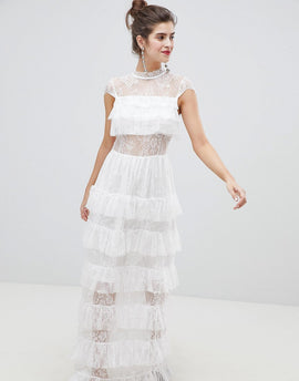Vero Moda Lace Ruffle Maxi Dress - Snow white