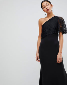 Club L One Shoulder Lace Cape Overlay Detailed Maxi Dress - Black
