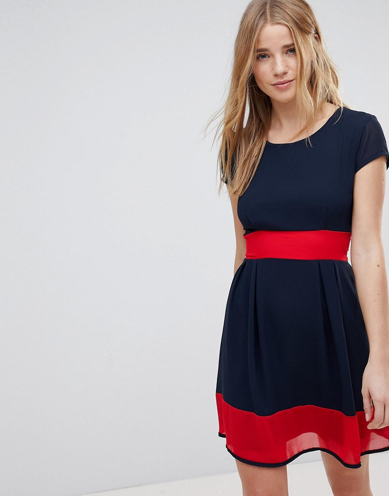 Wal G Skater Dress With Stripe Waistband And Hem - Navy/red