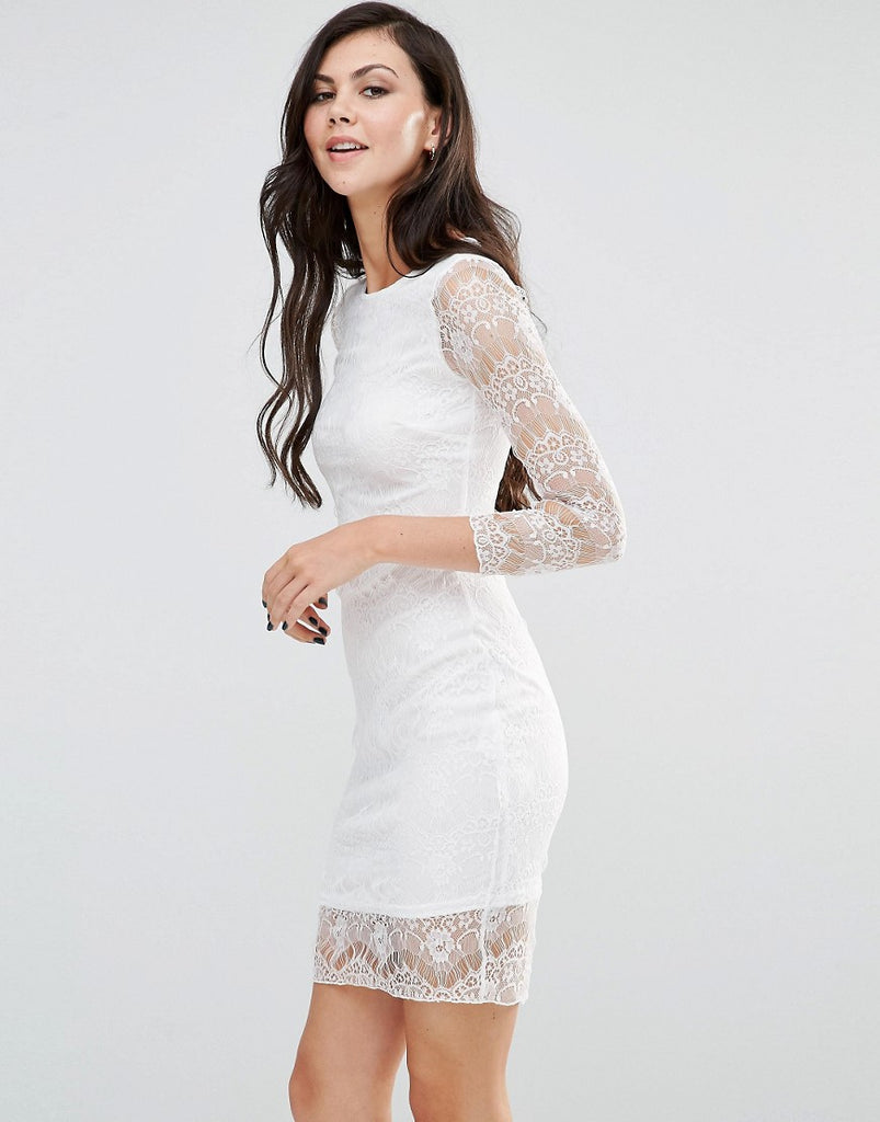 Lipstick Boutique Long Sleeve Bodycon Dress With Lace Sleeves - Ivory
