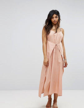 Zulu & Zephyr Wrap Front Maxi Beach Dress - Salmon