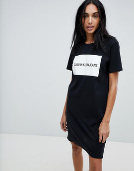 Calvin Klein Jersey T Shirt Dress with Block Logo - Ck black