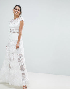 Bronx and Banco Lace Panel Maxi Dress - White