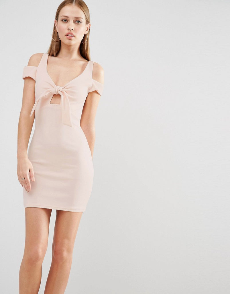 Oh My Love Mini Bodycon Dress With Bow Front - Nude