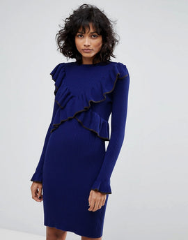 2nd Day Frilly Knitted Dress - Navy