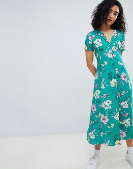 Bershka floral midi shirt dress in green - Green