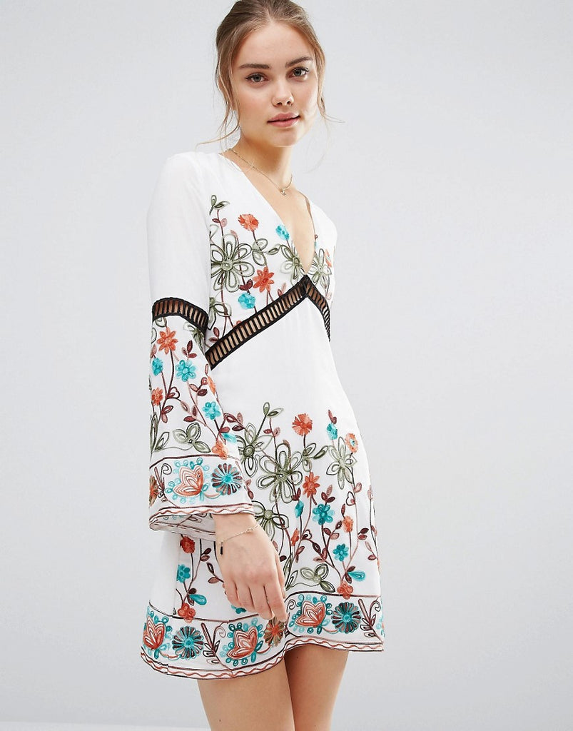 Endless Rose Embroidered Long Sleeve Dress - White combo