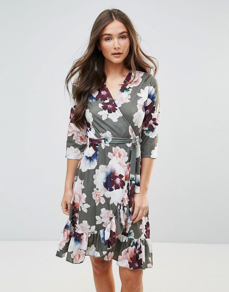 QED London Wrap Floral Midi Dress With Ruffle - Green floral print