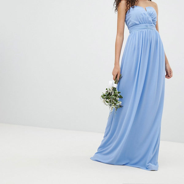TFNC Bandeau Maxi Bridesmaid Dress - Bluebell