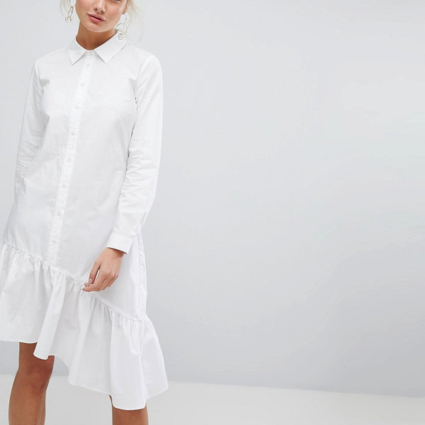 Current Air Asymmetric Shirt Dress with Ruffle - White