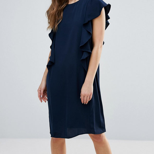 B.Young Shift Dress With Ruffle Side - Copenhagen night