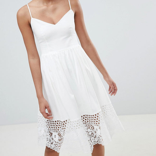French Connection Lace Panel Jersey Dress - Summer white