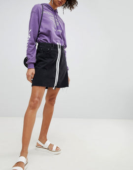 Cheap Monday Denim Skirt with White Zip - Black