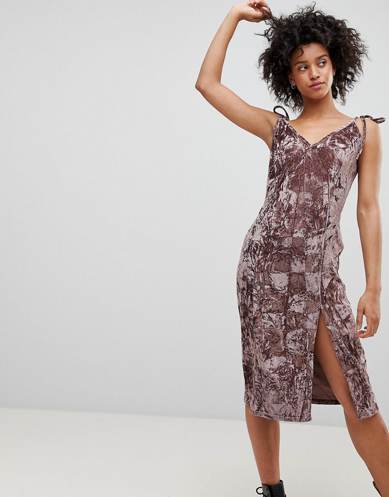 NYTT Crushed Velvet Midi Dress - Mauve