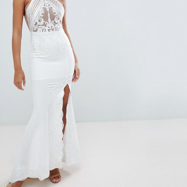 Love Triangle Embroidered Mesh Top Maxi With Thigh Split - White