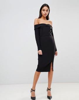ASOS DESIGN Bardot Button Through Pencil Dress - Black