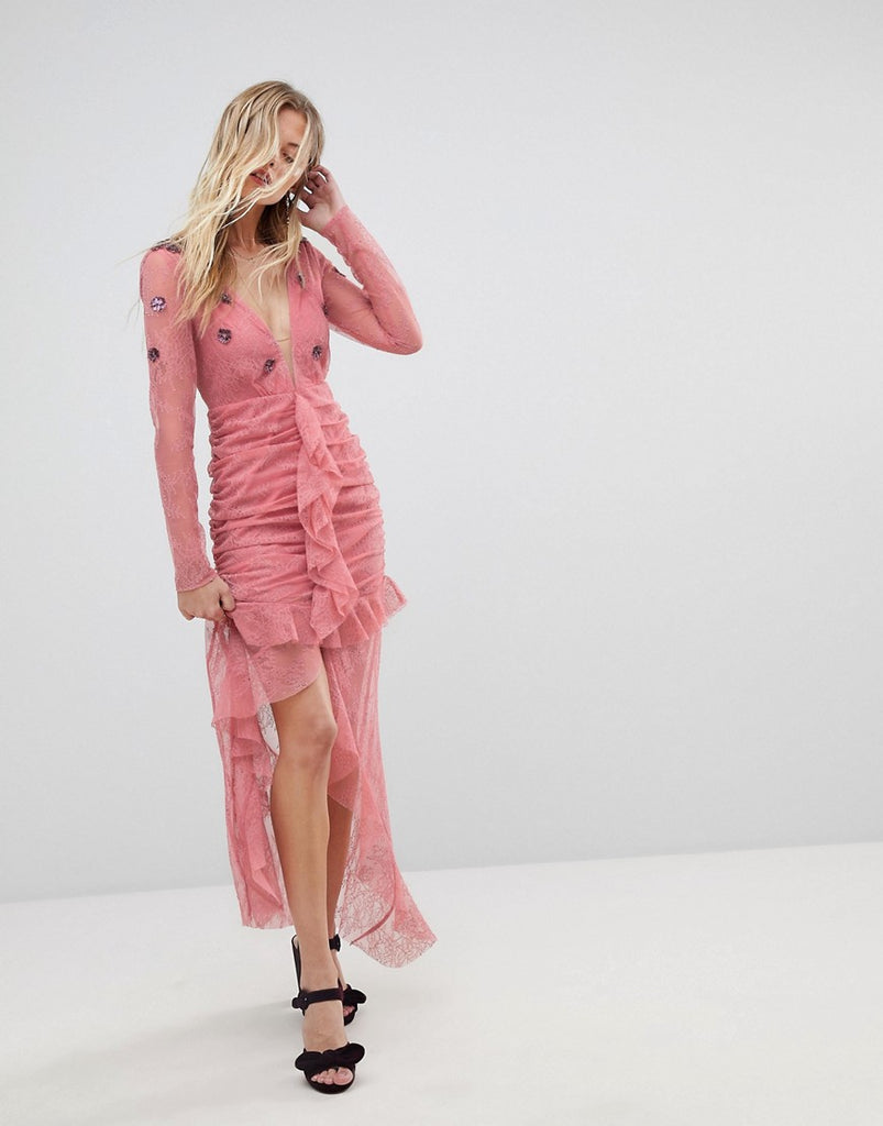 For Love and Lemons Plunge Lace Midi Dress - Hibiscus