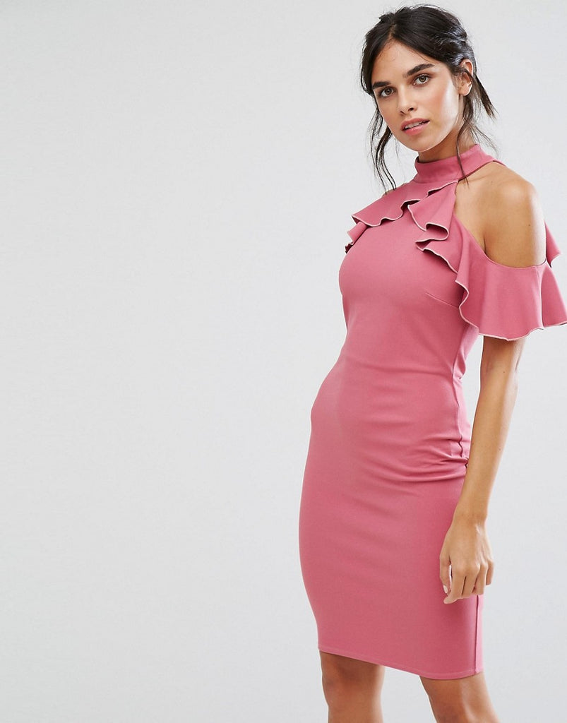 City Goddess Pencil Dress With Ruffle Detail - Rose