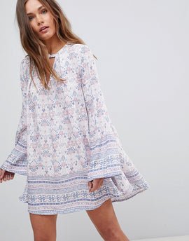 En Creme Long Sleeve Floral Dress With Front Keyhole - Pink blue