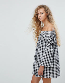 Love Gingham Bardot Bell Sleeve Tunic Dress - Black/white
