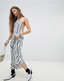 En Creme Racer Cami Maxi Dress In Watercolour Stripe - Black white stripe