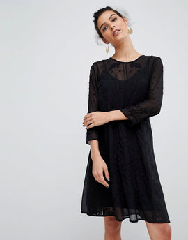 Y.A.S Embroidered Lace Dress - Black