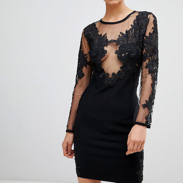 Forever Unique Embroidered Mini Dress - Black