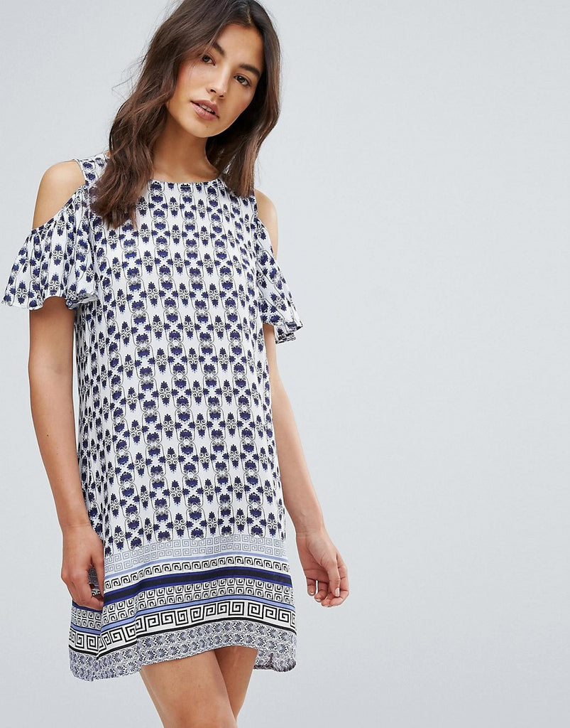 QED London Printed Frill Cold Shoulder Dress - Blue /white
