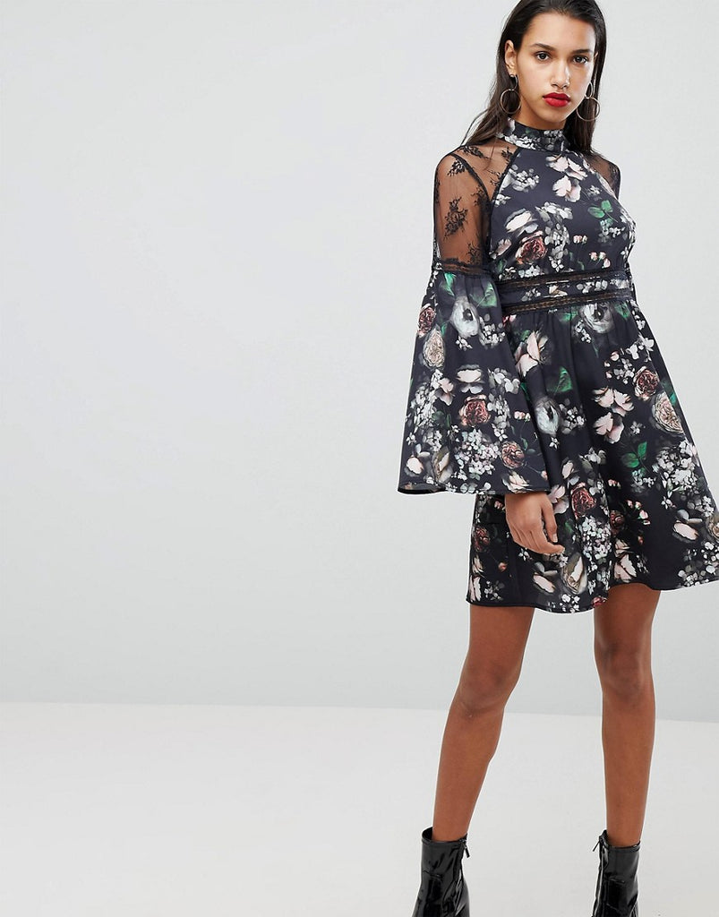 Neon Rose High Neck Dress With Lace Trim In Floral - Black floral