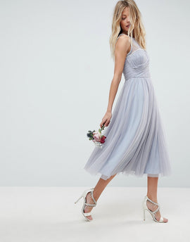 ASOS DESIGN Bridesmaid midi prom dress with pearl trim - Blue