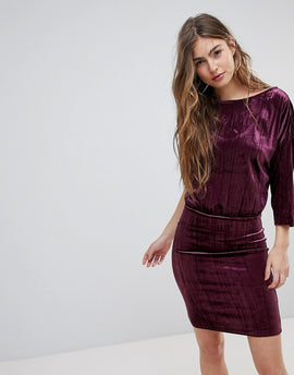 Blend She Crush Velvet Party Dress - Purple