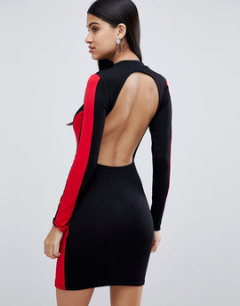 Lasula high neck bodycon dress with open back in black - Black