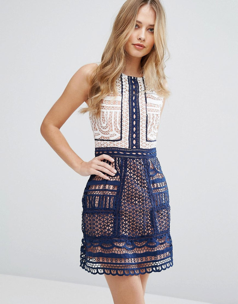 Adelyn Rae Lace Contrast Shift Dress - Off white/navy