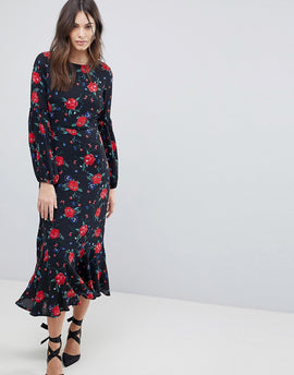 Fashion Union Maxi Prairie Dress With Balloon Sleeves - Black multi