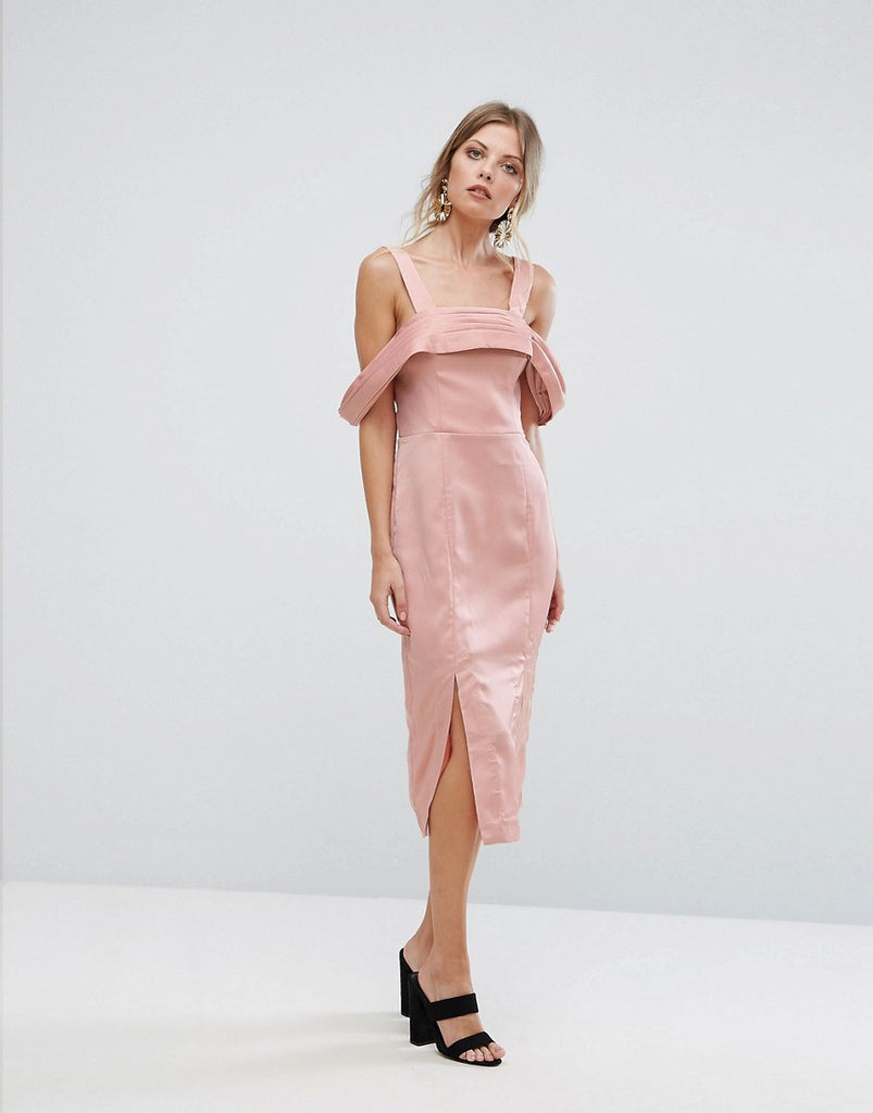 Keepsake Too Late Midi Dress - Blush