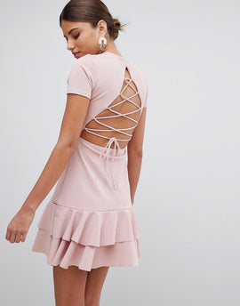 PrettyLittleThing Lace Up Back Detail Frill Hem Dress - Pink