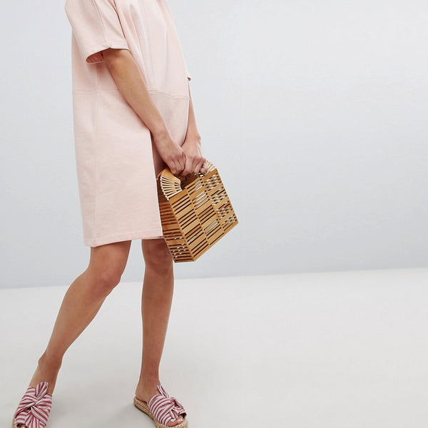 Pieces Short Sleeved Sweat Dress - Evening sand