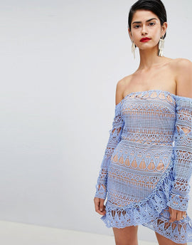 Missguided Frill Lace Bardot Dress - Blue