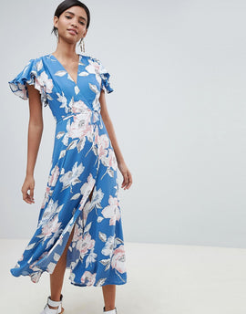 French Connection Floral Wrap Midi Dress - Vintage blue