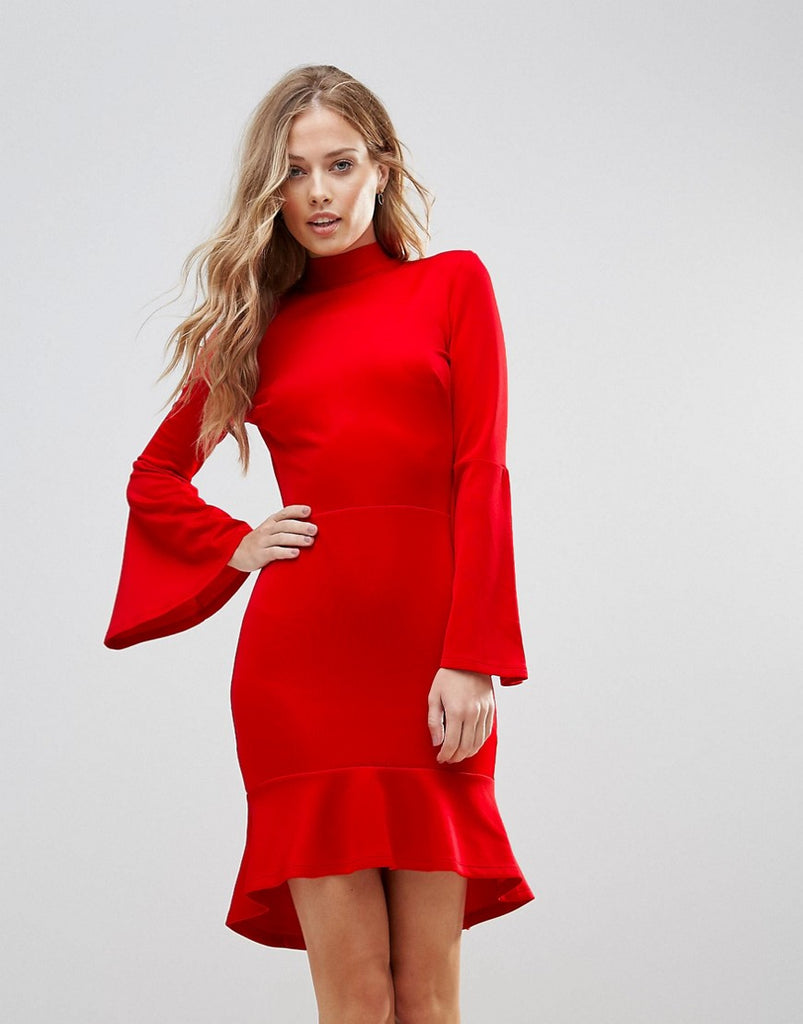 Oh My Love Pephem Midi Dress With Flare Sleeve - Red scuba
