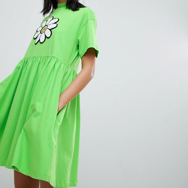 Lazy Oaf Giant Daisy Smock Dress - Lime green