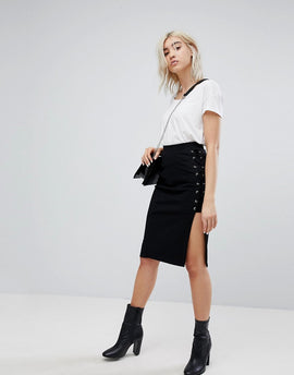 Bershka Lace Up Pencil Skirt - Black