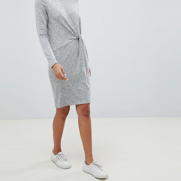 Esprit Twist Front Knitted Dress - Grey
