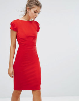 Closet London pencil dress with ruched cap sleeve in red - Red